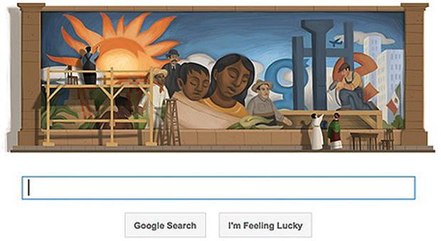 Google's doodle tribute to Mexican mural artist Diego Rivera