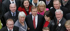 FG leader Enda Kenny surrounded by female election candidates Catherine Byrne of Dublin South Central, Marcella Corcoran of Laois-Offaly, Mary Mitchell O'Connor of Dun Laoghaire, and Fidelma Healy Eames of Galway West