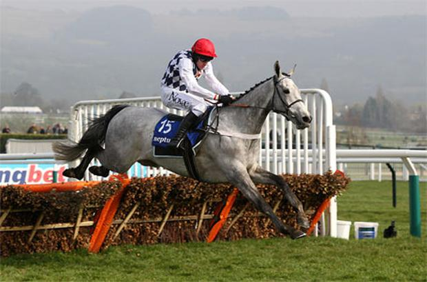Simonsig ridden by Barry Geraghty clears a fence on the way to winning the Neptune Investment Management Novices Hurdle. Photo: PA