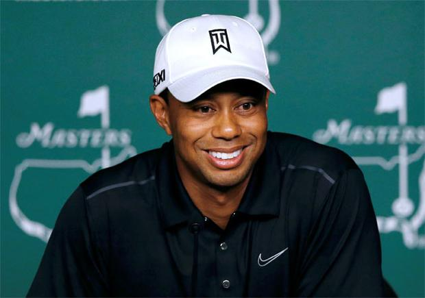 Tiger Woods answers questions during a press conference following his practice round ahead of the 2012 US Masters. Photo: Getty Images
