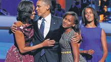 President Barack Obama is joined on stage by first lady Michelle Obama and daughters Sasha and Malia at the conclusion of his address to the Democratic National Convention in Charlotte, North Carolina