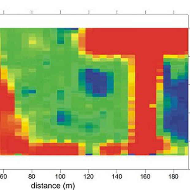 The results of an electromagnetic survey at the site in Burma, led by Dr Roger Clark and Dr Adam Booth (Dr Roger Clark/Dr Adam Booth/PA)