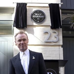 Gary Kemp unveils the commemorative plaque to David Bowie's iconic creation Ziggy Stardust in Heddon Street, London