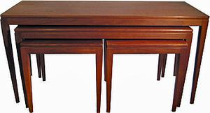 Nest of four retro tables (two long coffee and two small square lamp tables) €350 - www.Retrospect.ie