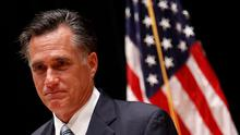 US Republican presidential nominee Mitt Romney speaks to reporters in Los Angeles on Monday. Photo: Reuters
