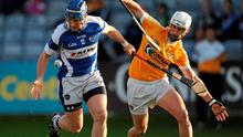 Laois' Willie Hyland in action against Antrim's Aaron Griffin during their Leinster SHC clash at O'Moore Park, Portlaoise on Saturday. Photo: Ray McManus / Sportsfile