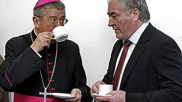 Archbishop Diarmuid Martin chats with entrepreneur Pat Mc Donagh, who contributed €7m to the construction of the building