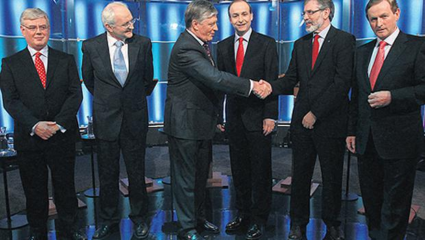 'Frontline' smiles: Pat Kenny greeting the five party leaders before their RTE debate on Monday night