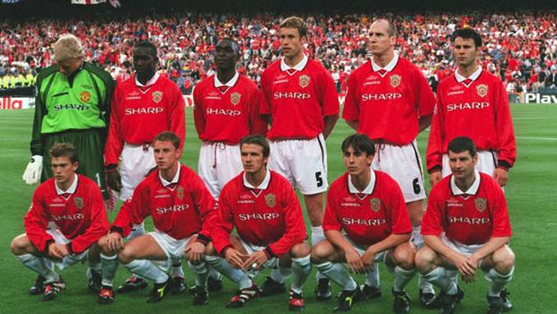 The treble winning team of 1999, with key players from the youth academy. Photo: Getty Images