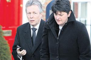 DUP Leader Peter Robinson and acting First Minister of the North Arlene Foster during a break in political talks at Hillsborough Castle, Belfast yesterday