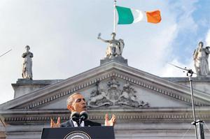 US President Barack Obama speaking in Dublin during his visit