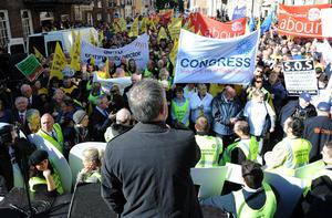 Siptu president Jack O'Connor at last week's protest on the opening day of the Dali.