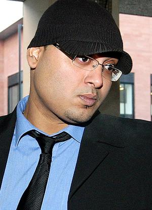 Ashraf Azad, 28, arrives at Manchester Crown Court, where was sentenced for assaulting his sister, Harry Potter star Afshan Azad. Photo: PA