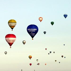 Hot air balloons take off from Lydden Hill Race Circuit near Canterbury, Kent