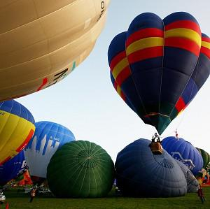 Hot air balloons take off from Lydden Hill Race Circuit near Canterbury