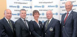 Runners-up: Allianz Director of Sales and Operations Sean McGrath (second left) with Seapoint captain John Garvey, lady captain Karen McCahey, president Tom Upton and Malone captain Bill Miscampbell
