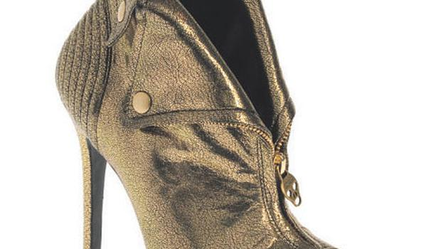 ROCK CHICK: Angel gold, peeptoe shoes, €680, Alexander McQueen at Brown Thomas