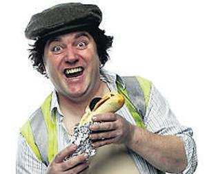 Popular comedian Pat Shortt, posing as his stage character Sheamie the Builder, scored a big hit with his song 'The Jumbo Breakfast Roll'.