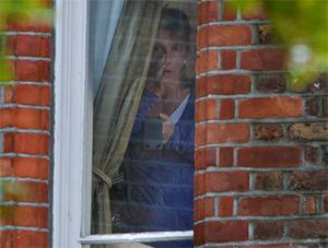 Sarah Newman was visibly upset when pictured at the home she shares with former Kilkenny hurler DJ Carey on Monkstown, Dublin on Monday