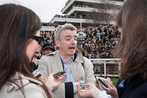 Ryanair Chief Michael O' Leary at day one of the Cheltenham races. Photo: Mark Condren