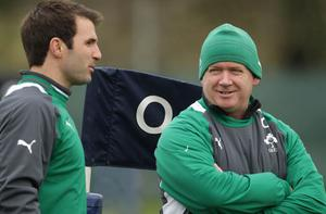 Irelands strength and conditioning coach Bryan Cullen shares a joke with Coach Declan Kidney