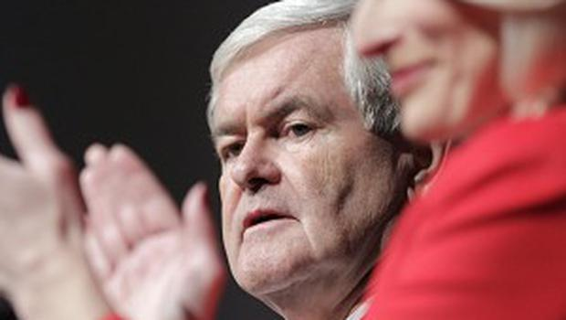 Republican presidential candidate Newt Gingrich and his wife Callista at Des Moines, Iowa (AP)