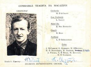 Michael Higgins student card from 1964.