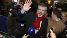 Sinn Fein President Gerry Adams arrives at the Dundalk count centre in Co Louth. Photo: PA