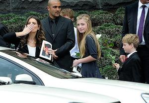 Sam, Matisse, and Tiernan Stynes leave St Paul's catherderal Melbourne where his funeral mass was held