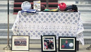 The decorated altar at the service for Jim Stynes in Dublin