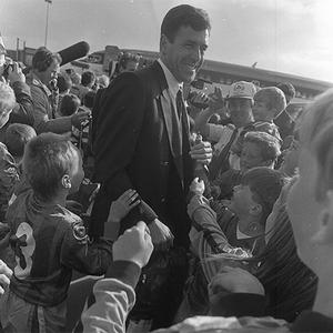 Packie Bonner at Dublin Airport after the Irish soccer team's triumphant return home from Italia '90. Jack's Army reached the World Cup quarter finals, coming back to a hero's welcome in Dublin.