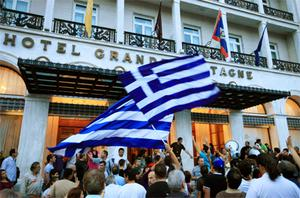 Protests in Athens yesterday