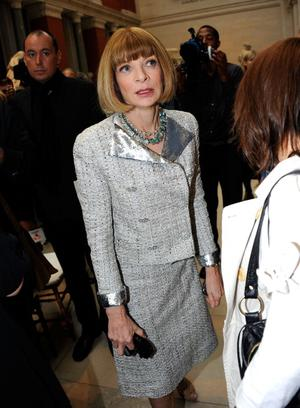 """NEW YORK, NY - MAY 02: Editor-in-chief of American Vogue, Anna Wintour attends the press preview for the """"Alexander McQueen: Savage Beauty"""" Costume Institute exhibition at The Metropolitan Museum of Art on May 2, 2011 in New York City.  (Photo by Andrew H. Walker/Getty Images)"""