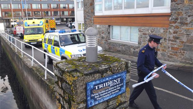 Gardai, ambulances and firefighters at the Trident Hotel in Kinsale, Co Cork, yesterday