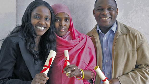 Left to right, Cate Gatharia from Kenya, Ifrah Ahmed from Somalia, and Emmanuel Niaho from the Ivory Coast at the Immigrant Council of Ireland seminar yesterday
