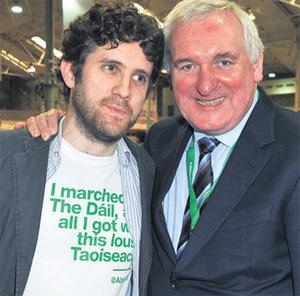 Former Taoiseach Bertie Ahern with comedian and broadcaster Abie Philbin Bowman, whose T-shirt says, 'I marched to the Dail but all I got was this lousy Taoiseach'.