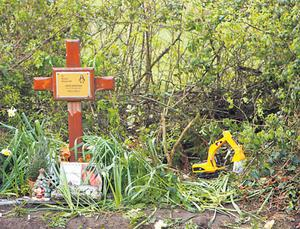 Anthony's toy digger at the crash scene in Murrow, Co. Limerick