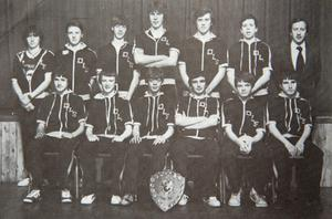 Jim Stynes (centre of back row) in a 1983 school basketball team photo