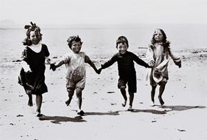 Children play on the beach on Valentia Island, Co Kerry, in 1909
