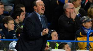 """Chelsea's manager Rafa Benitez reacts to his team's performance against Manchester City during their English Premier League soccer match at Stamford Bridge stadium in London, November 25, 2012. REUTERS/Russell Cheyne (BRITAIN - Tags: SPORT SOCCER TPX IMAGES OF THE DAY) NO USE WITH UNAUTHORIZED AUDIO, VIDEO, DATA, FIXTURE LISTS, CLUB/LEAGUE LOGOS OR """"LIVE"""" SERVICES. ONLINE IN-MATCH USE LIMITED TO 45 IMAGES, NO VIDEO EMULATION. NO USE IN BETTING, GAMES OR SINGLE CLUB/LEAGUE/PLAYER PUBLICATIONS. FOR EDITORIAL USE ONLY. NOT FOR SALE FOR MARKETING OR ADVERTISING CAMPAIGNS"""