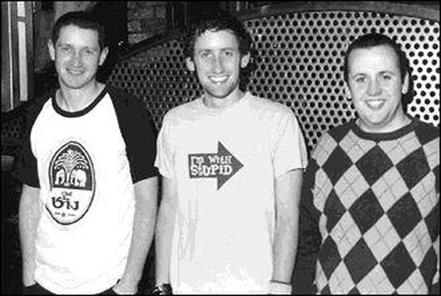 Members of Giveamanakick, Albert Twomey, Keith Lawlor and Stephen Ryan at the launch of the record label Outonalimb and the release of their CD in Limerick.