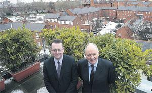Declan Taite (left)and Pearse Farrell, partners at FGS, Molyneux House, Bride St., Dublin. Firms like FGS have been dealing with a surge in 'informal insolvency' and advisory work, with the profession's fortune rising as the economy crumbles