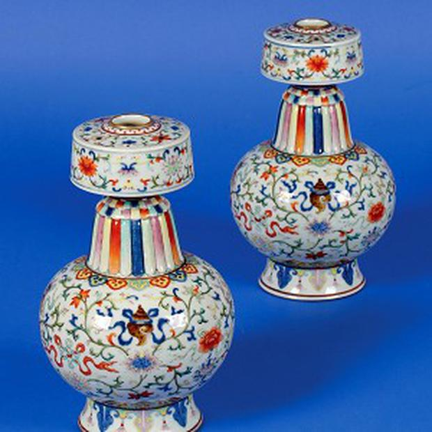 A pair of Qianlong dynasty porcelain vases sold for almost £500,000 at auction
