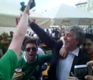 A still from one of the many video clips of John Delaney 'celebrating' with Irish fans at Euro 2012