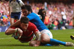 Wales' Alex Cuthbert scores his sides second try