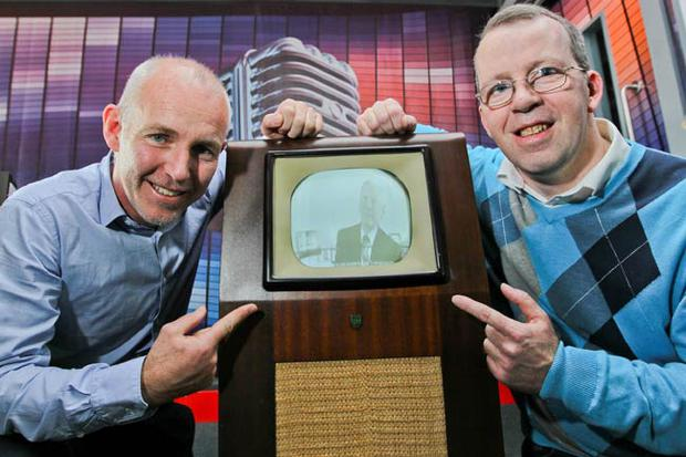 Ray D'Arcy and Frank Cuffe from Roscommon, proud owner of the oldest working television in Ireland - a 1948 Ecko.