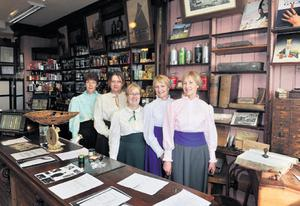 Regina Aherne, Annette Finucane, Therese Wilson Downey, Pat Callaghan and Olive Wilson in costume in Wilson's Pharmacy