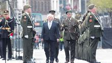 President Michael D Higgins marks the 96th anniversary of the 1916 Easter Rising outside the GPO in Dublin