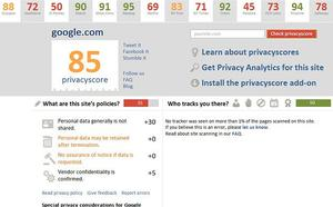 The Privacy Score website gives Google 85 out of 100