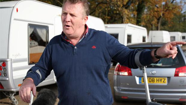Traveller Patrick Egan speaks to the media at outside Dale Farm illegal travellers site after the completion of the Basildon council clearance operation. Photo: PA